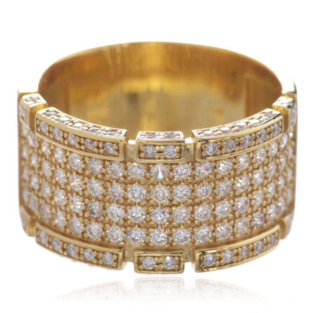 メンズリング 18金 ダイヤモンド K18 幅広 指輪 イエローゴールド 男性用 鑑別書付き 日本製