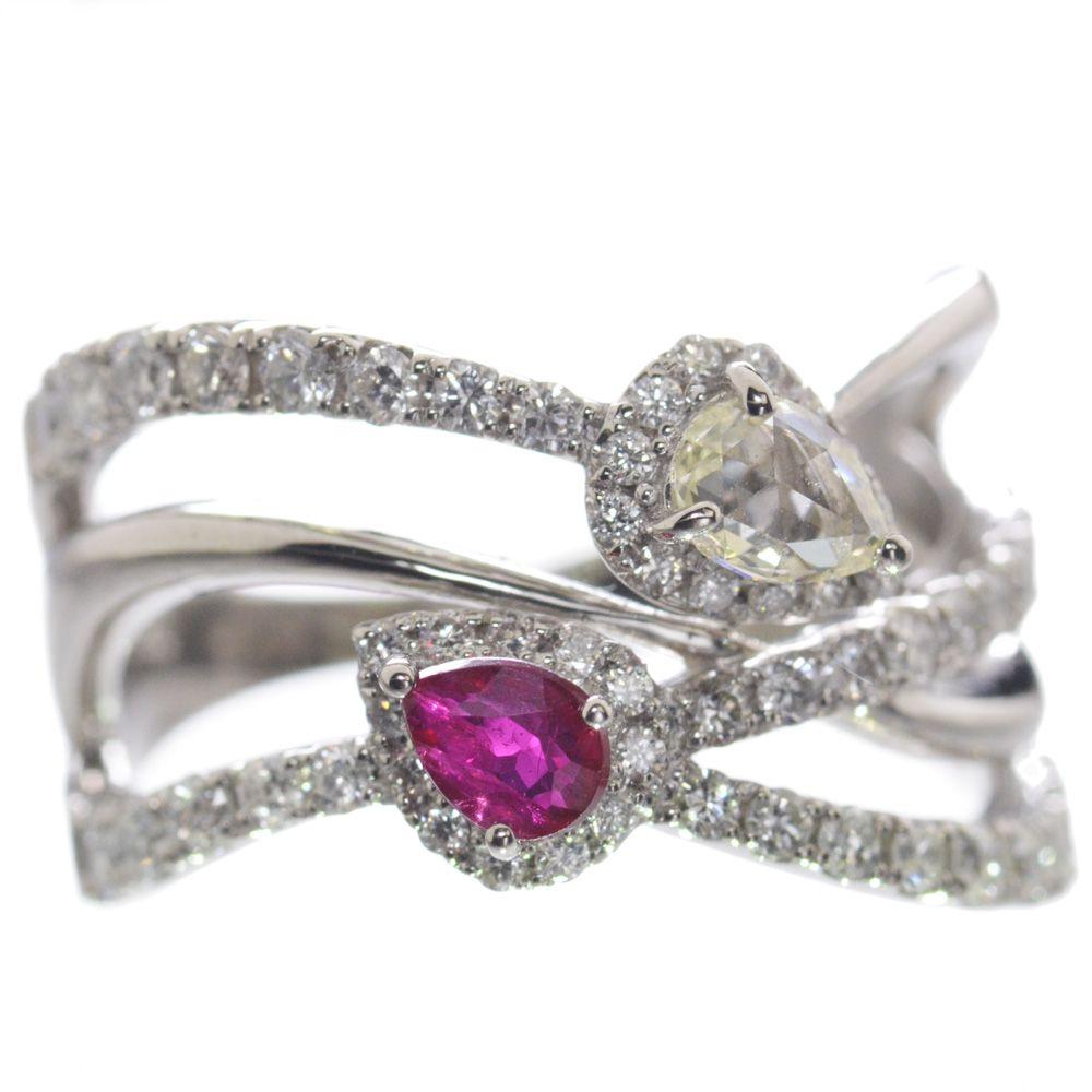 指輪 レディース ピジョンブラッドルビー ダイヤモンド リング プラチナ Pt950 ペアシェイプ 日本製