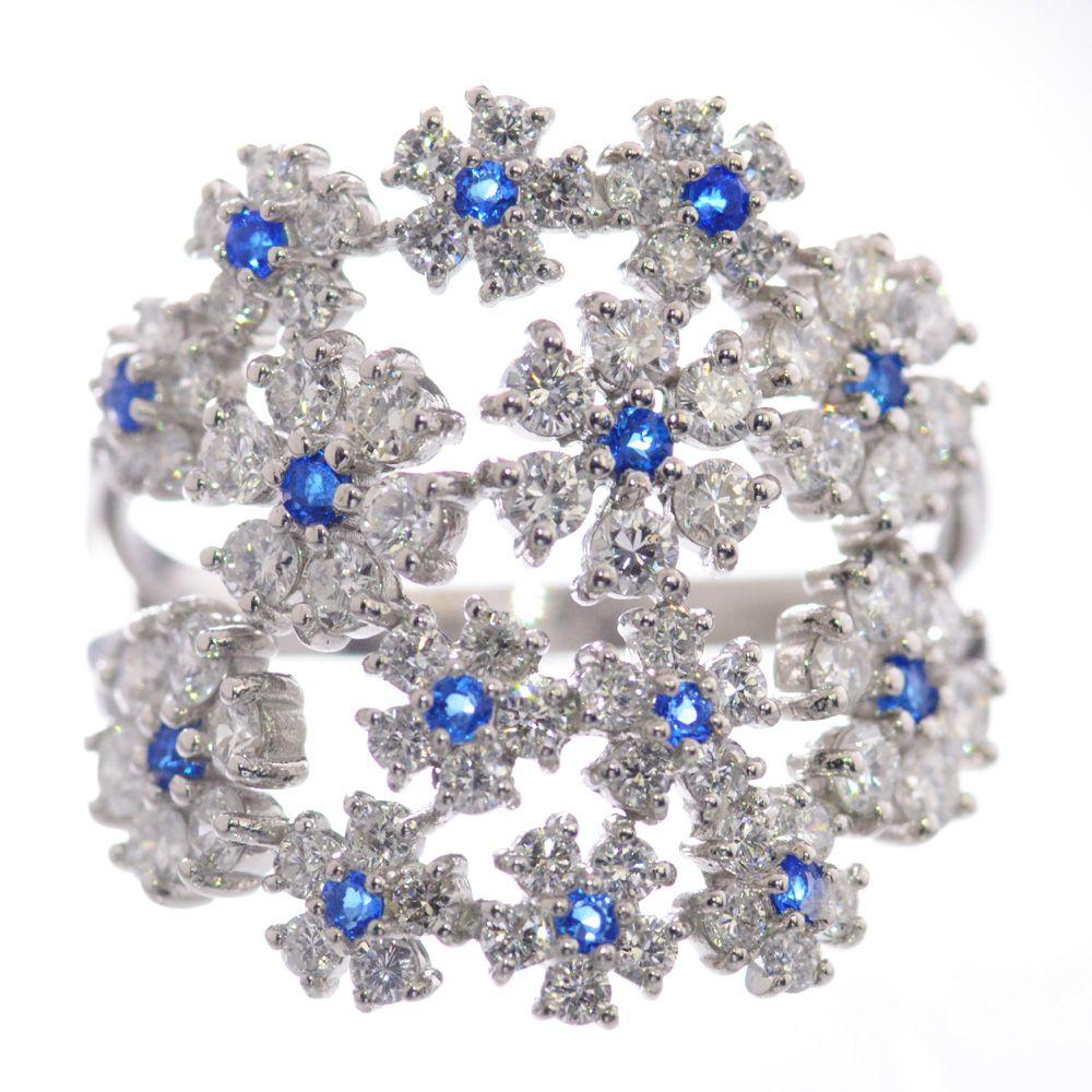 指輪 レディース アウイナイト ダイヤモンド リング プラチナ Pt950 フラワー 鑑別書付き 日本製
