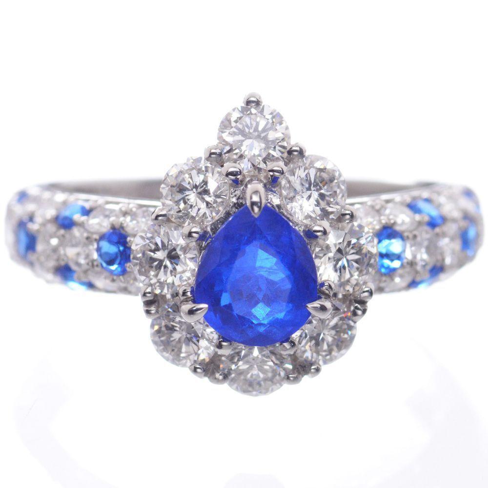 指輪 レディース アウイナイト ダイヤモンド リング プラチナ Pt950 ペアシェイプ 12号 鑑別書付き 日本製 現品限り