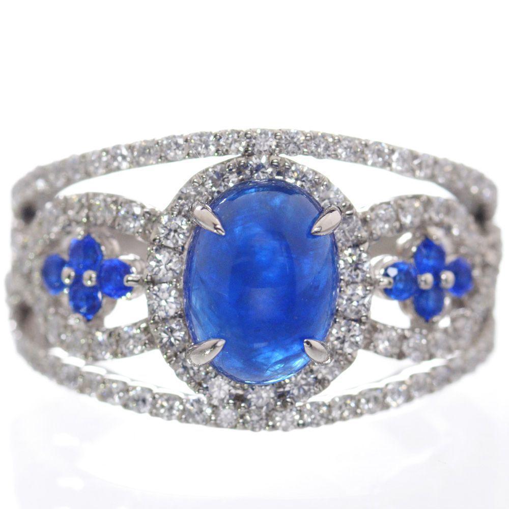 指輪 レディース アウイナイト ダイヤモンド リング プラチナ Pt950 カボション 12号 鑑別書付き 日本製 現品限り