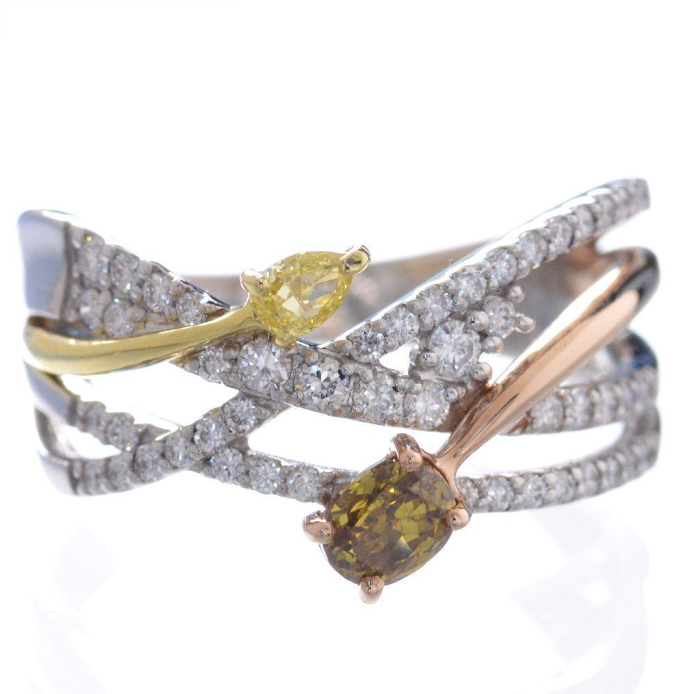 指輪 レディース ファンシーカラーダイヤモンド リング プラチナ 18金 イエローゴールド ピンクゴールド Pt950 鑑別書付き 日本製