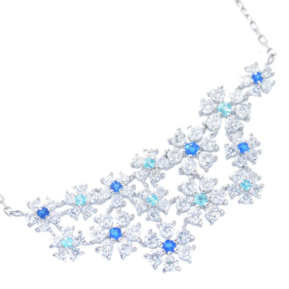 ネックレス レディース プラチナ ダイヤモンド パライバトルマリン アウイナイト フラワー 鑑別書付き 日本製