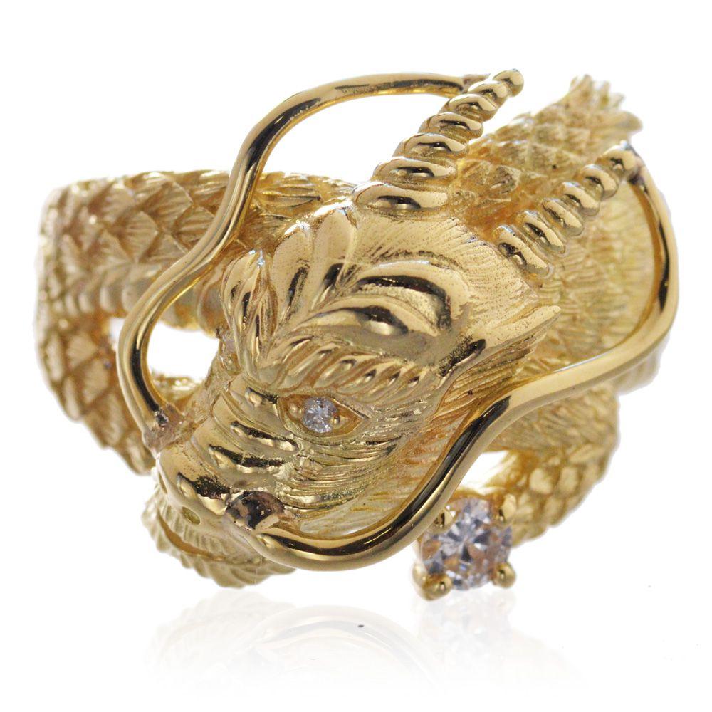 職人が造る本格メンズリング 鑑別書付き 日本製 送料無料 刻印無料 メンズリング ドラゴン 18金 K18イエローゴールド ダイヤモンド 龍 指輪 男性用