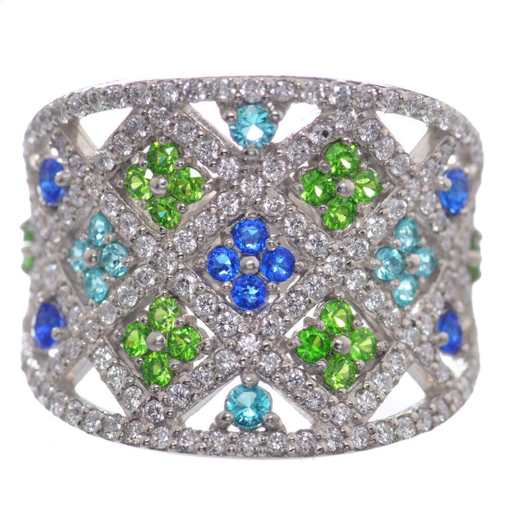 アウイナイト パライバトルマリン デマントイドガーネット ダイヤモンド リング 指輪 プラチナ Pt900 鑑別書付き 日本製