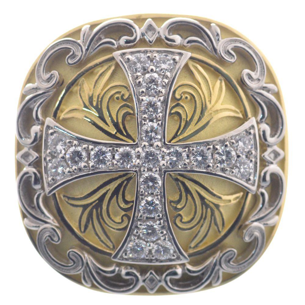 指輪 男性用 十字架 鑑別書付き 刻印無料 メンズリング プラチナ 18金イエローゴールド Pt950 K18 ダイヤモンド クロス