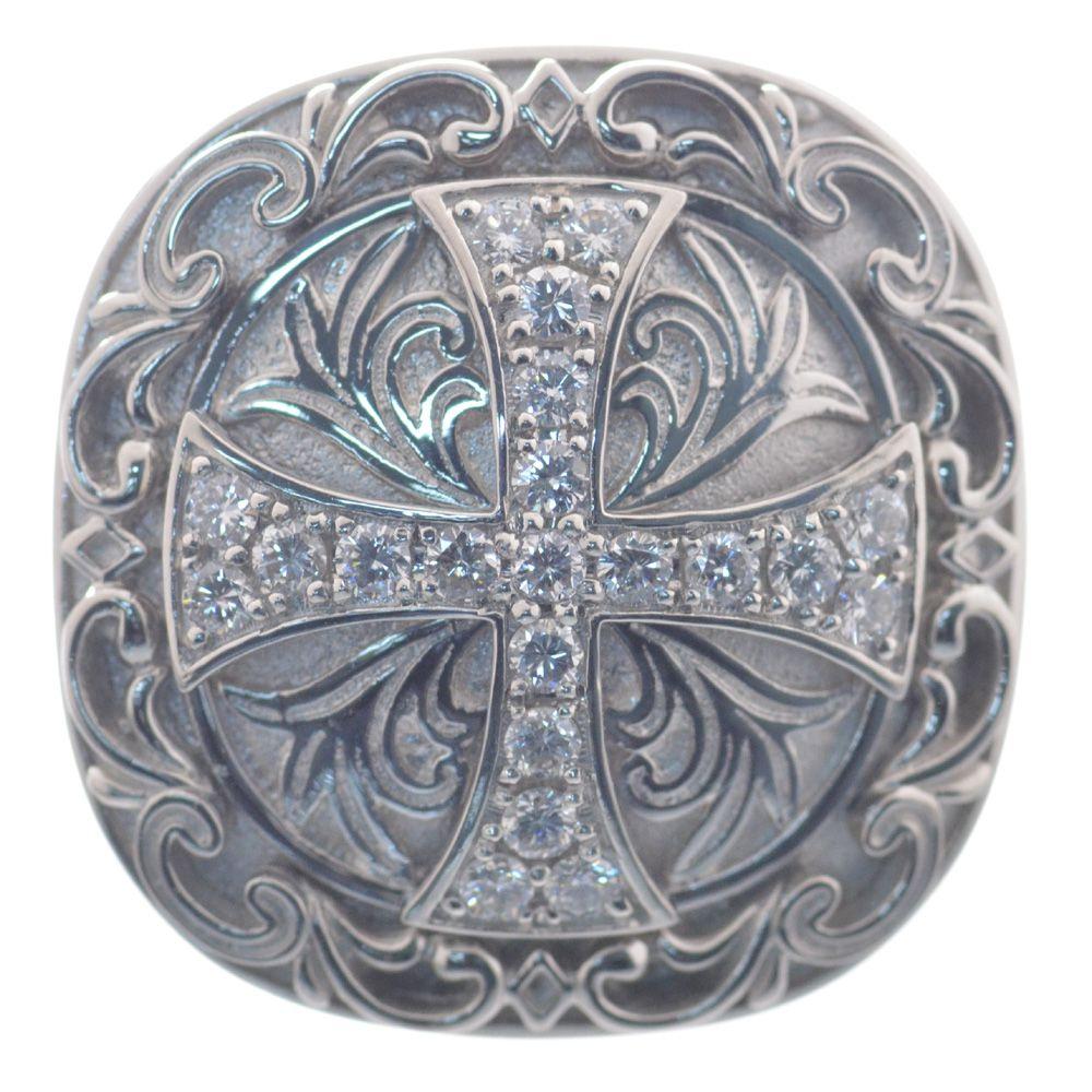 メンズリング プラチナ Pt950 ダイヤモンド クロス