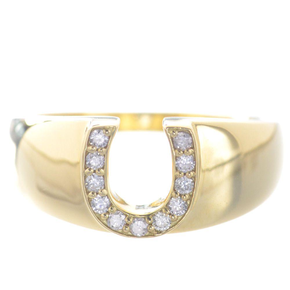 指輪 メンズ 18金 イエローゴールド ダイヤモンド ピンキー リング 馬蹄