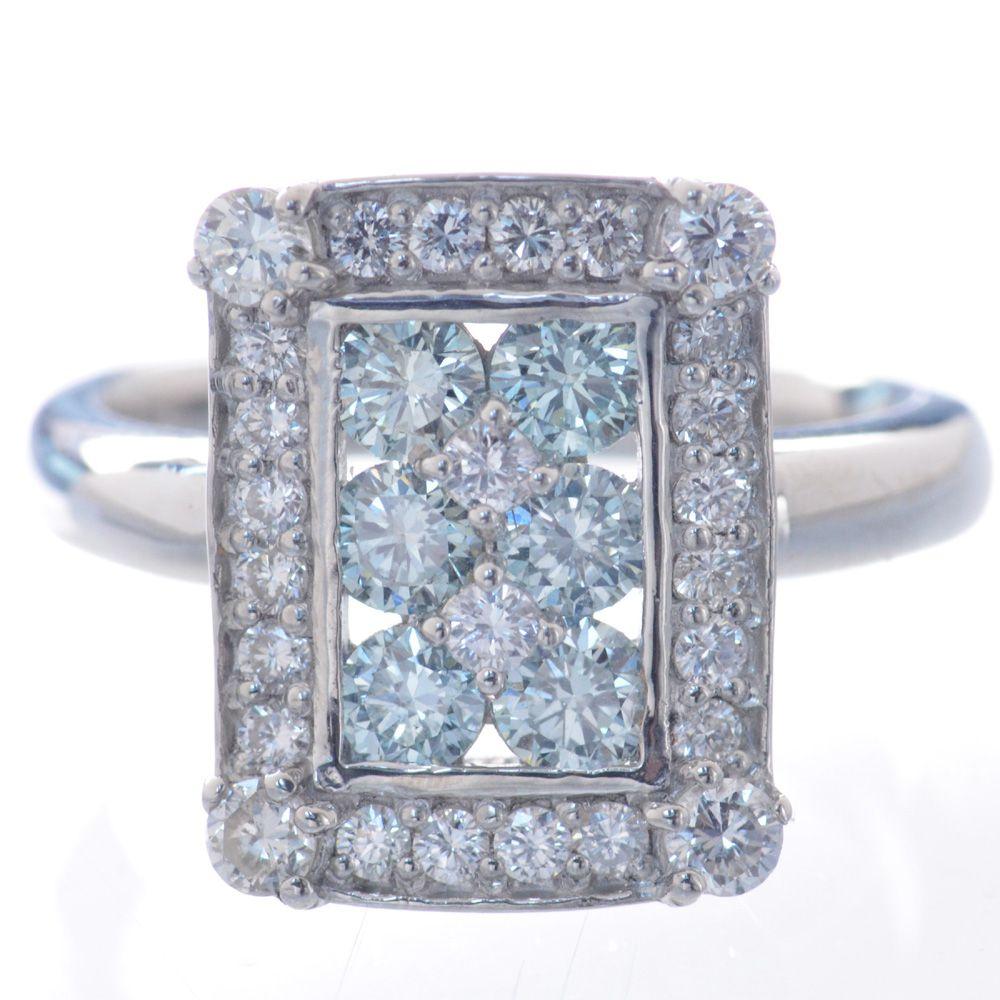 指輪 レディース プラチナ アイスブルーダイヤモンド リング 鑑別書付き 日本製