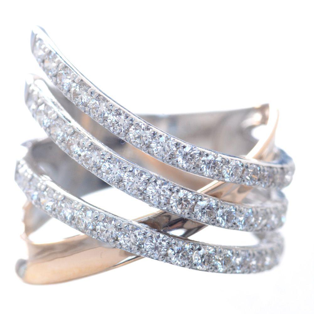 指輪 レディース プラチナ 18金 ピンクゴールド H&C ダイヤモンド リング 鑑別書付き 日本製