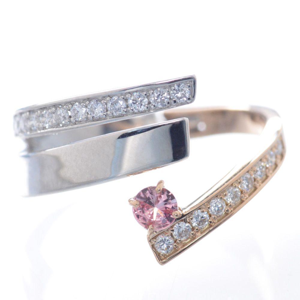 指輪 レディース プラチナ 18金 ピンクゴールド ダイヤモンド パパラチアサファイア フィットリング 鑑別書付き 日本製