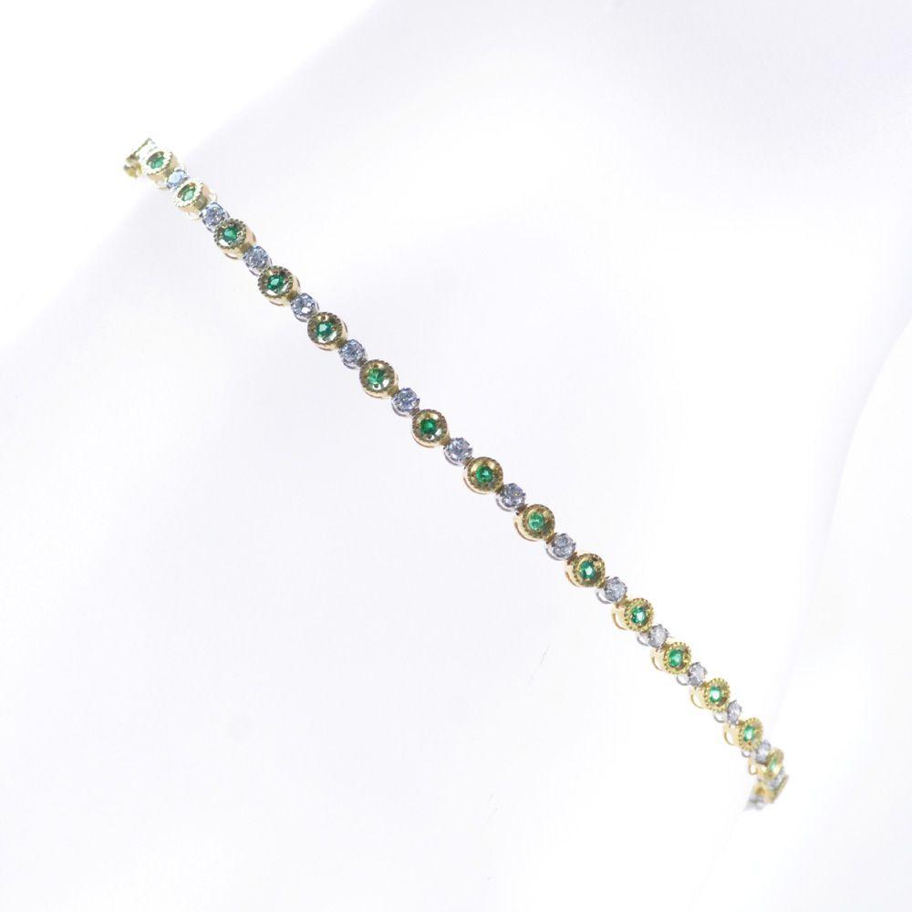 ブレスレット レディース 18金 プラチナ エメラルド ダイヤモンド イエローゴールド 鑑別書付き 日本製