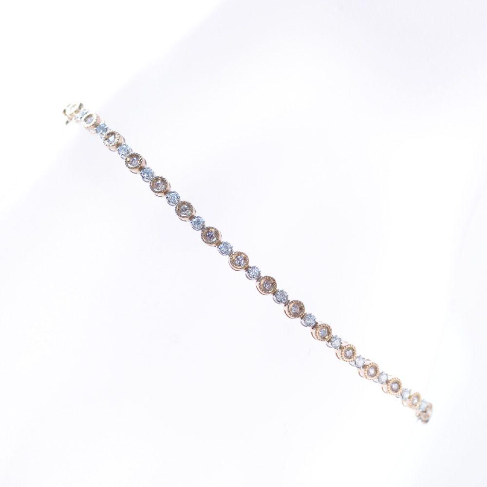 ブレスレット レディース 18金 プラチナ ダイヤモンド ピンクゴールド 鑑別書付き 日本製