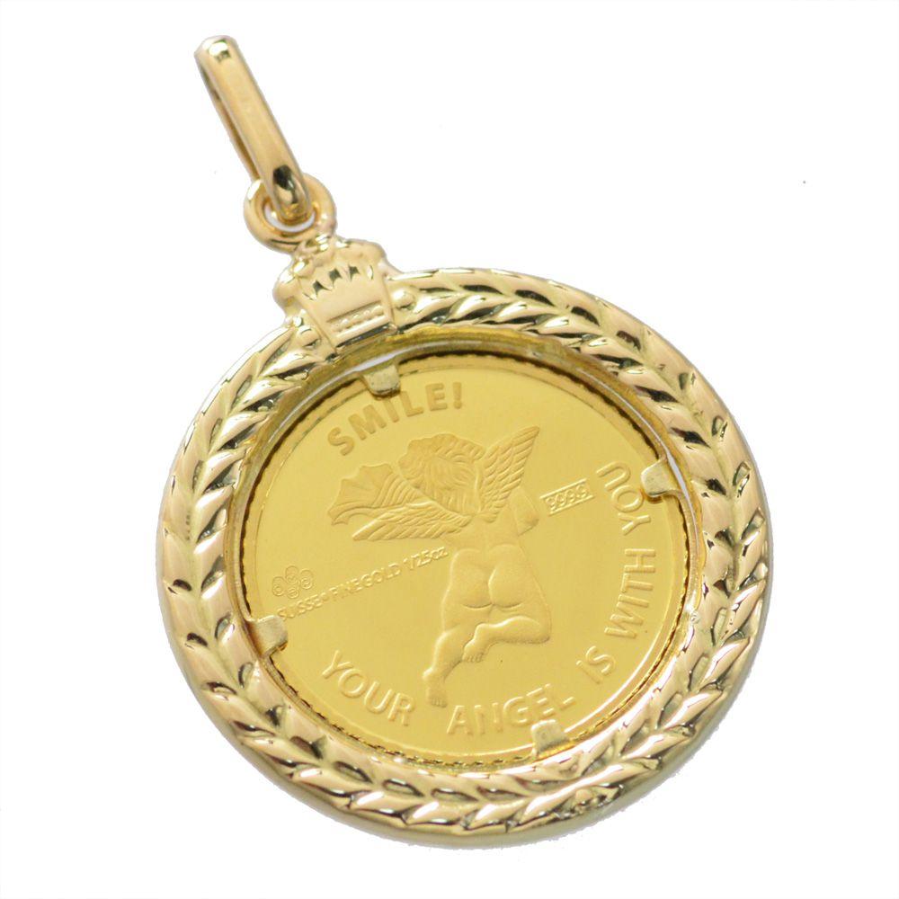 純金 K24 ペンダントトップ エンジェル 1/25oz コイン 18金ペンダント枠付