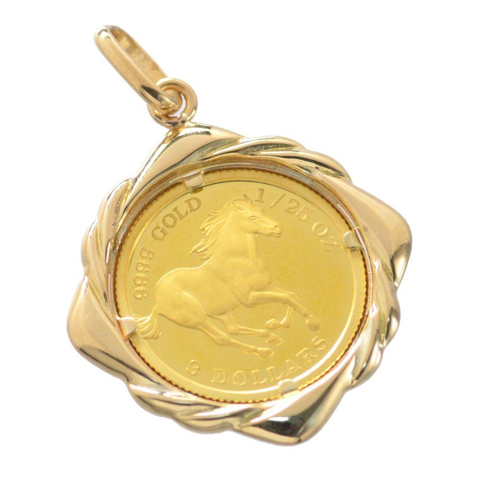 純金 K24 ツバル ホースコイン 18金ペンダント枠付 1/25oz