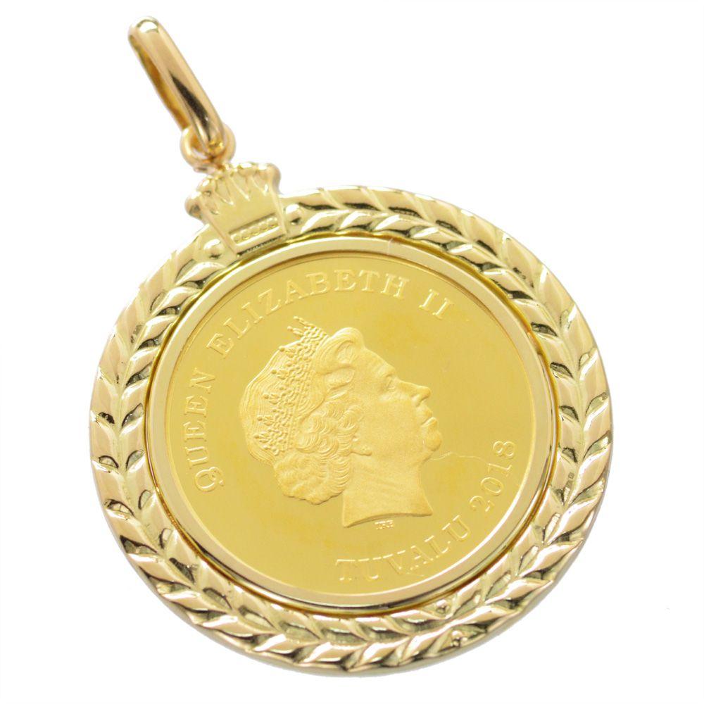 純金 K24 ツバル ホースコイン 18金クラウン枠付ペンダント 1/5oz