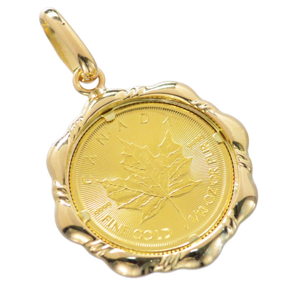純金 K24 カナダ政府発行メープルリーフコイン 18金ペンダント枠付 1/10oz