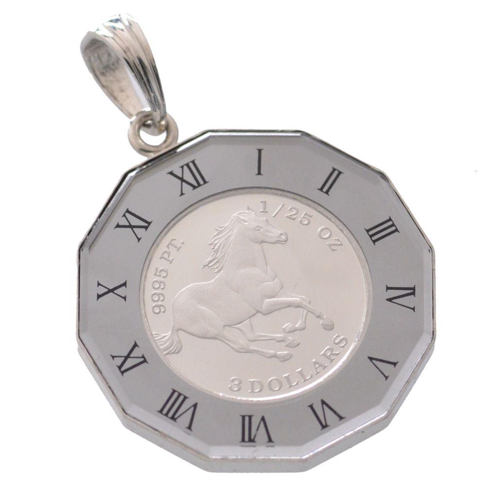 純プラチナ ツバル ホースコイン Pt900ペンダント枠付 クリスタルガラス 1/25oz