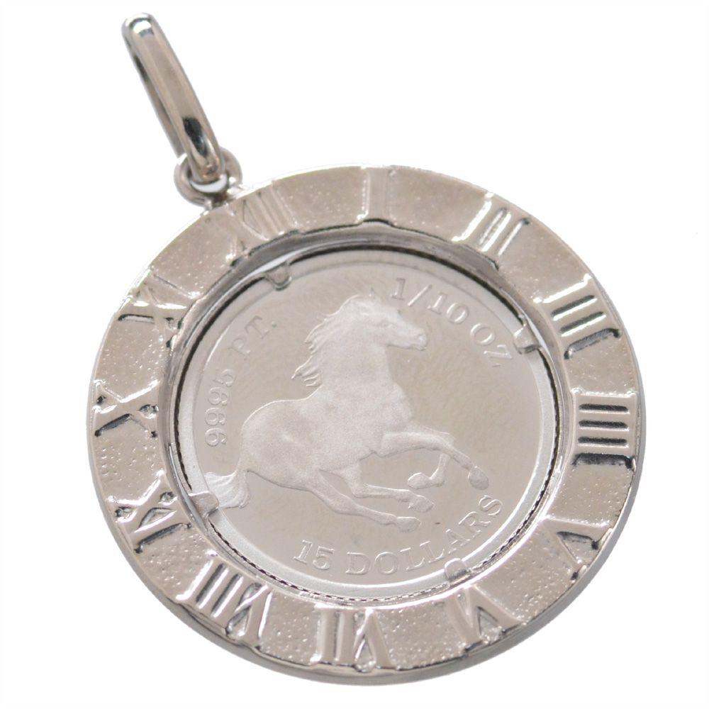 純プラチナ ツバル ホースコイン Pt850ローマ数字枠ペンダント1/10oz