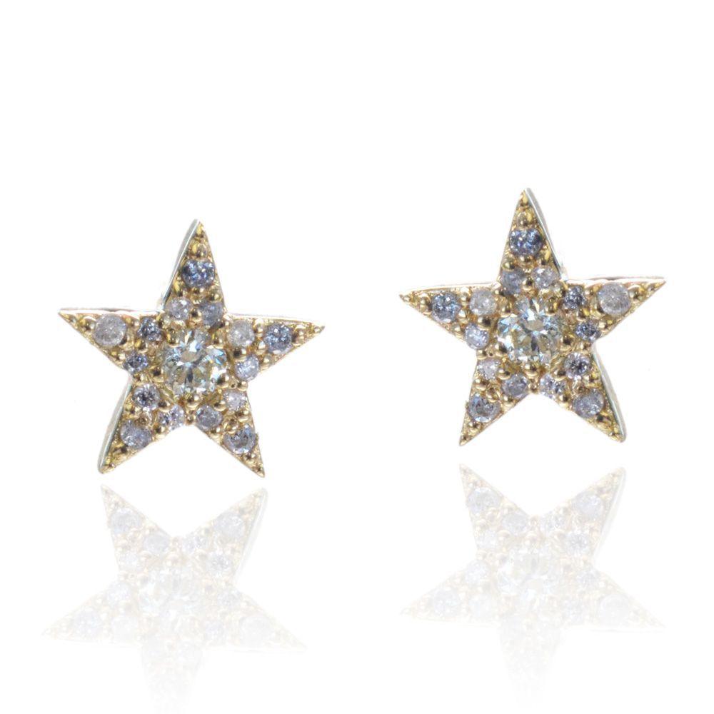 即納 ダイヤモンドピアス 18金 イエローゴールド スター 星