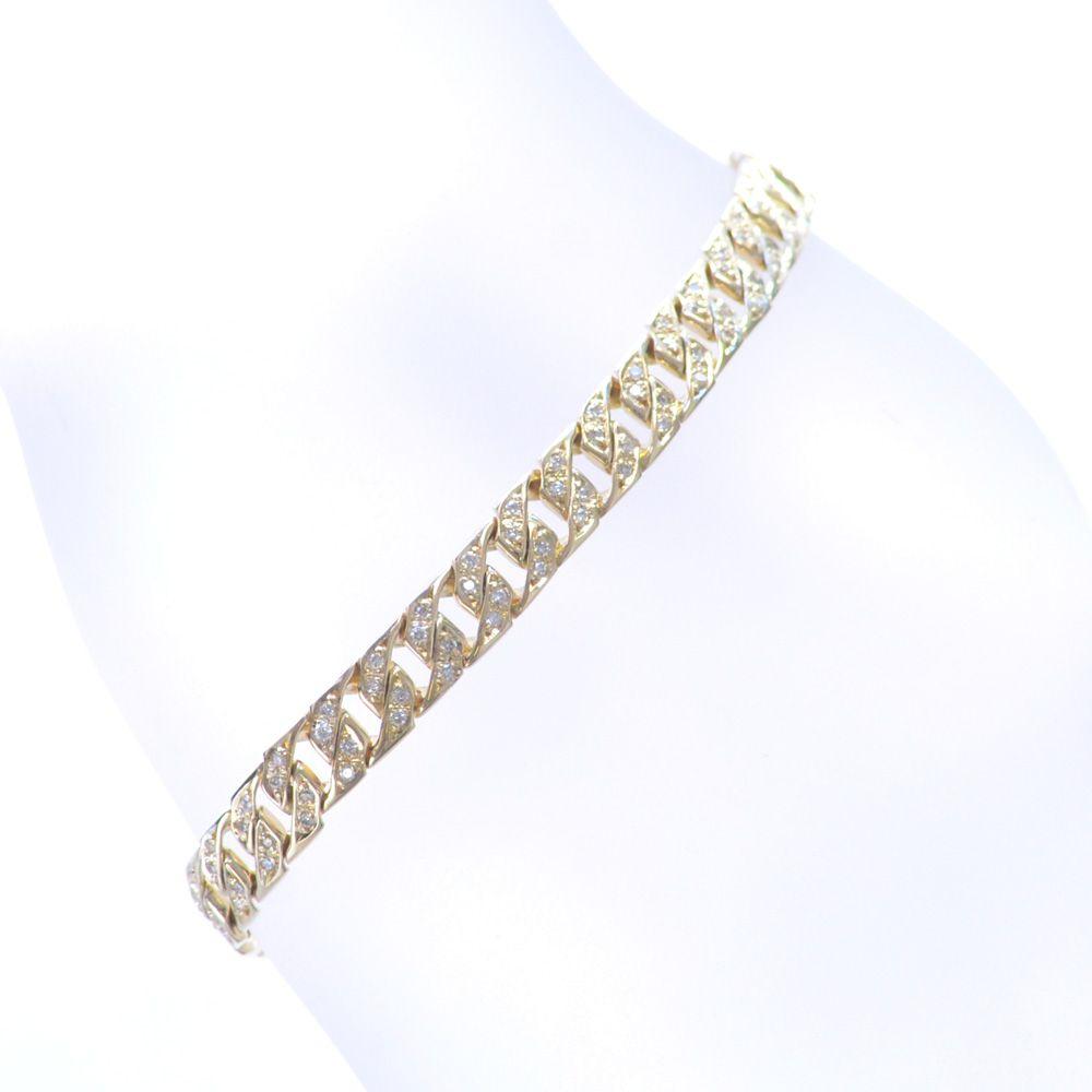 喜平 ブレスレット ダイヤモンド 18金 イエローゴールド リバーシブル 男女兼用 鑑別書付き 日本製