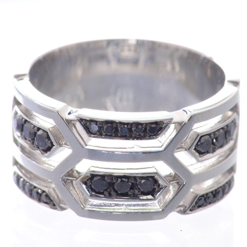 メンズリング プラチナ ブラックダイヤモンド Pt950 指輪 男性用 鑑別書付き 日本製