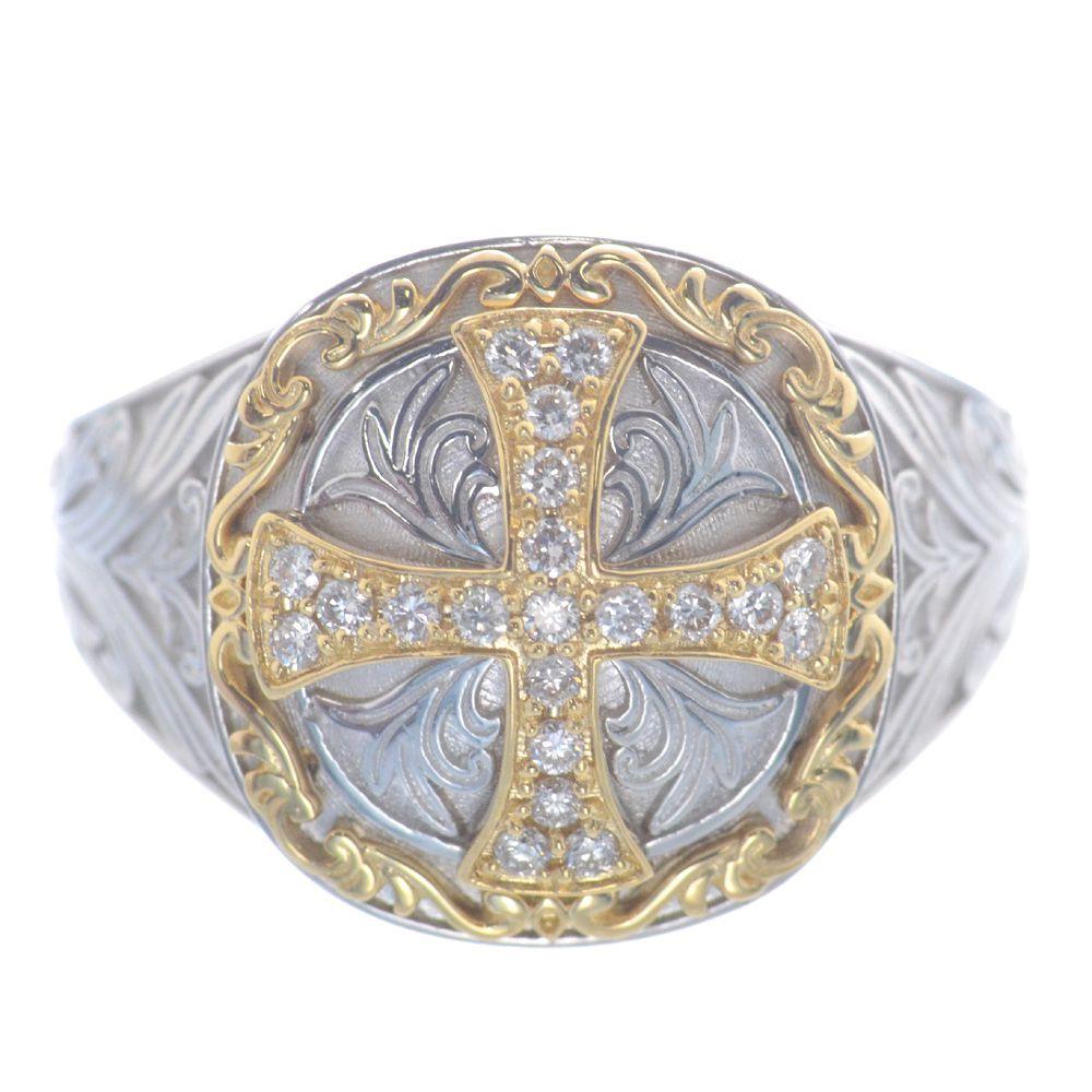 メンズリング 18金 プラチナ ダイヤモンド クロス K18 Pt950
