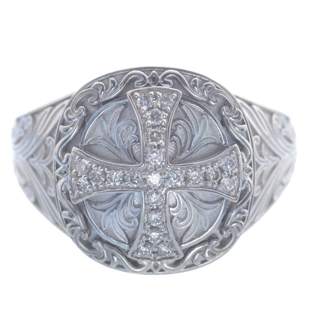 メンズリング プラチナ ダイヤモンド クロス Pt950