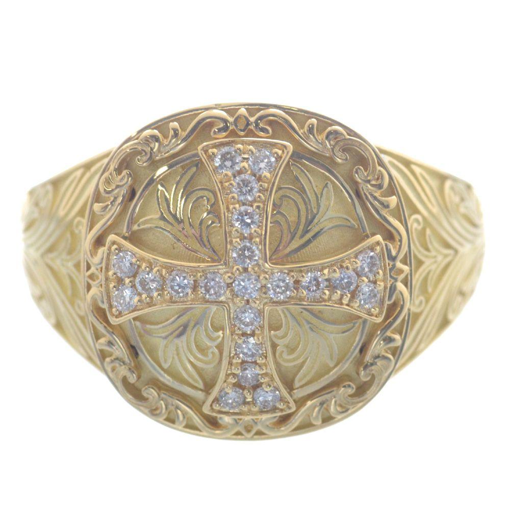 メンズリング 18金 ダイヤモンド クロス K18