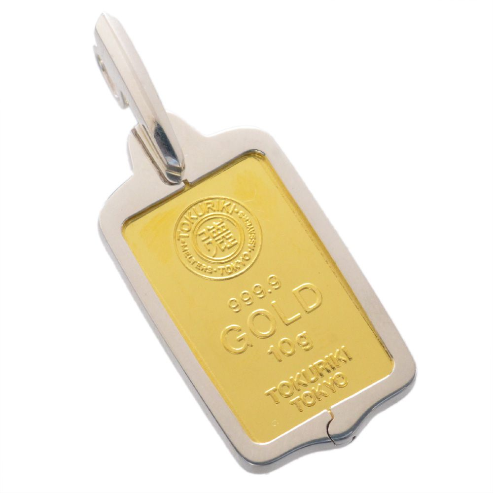 純金 インゴット K24 10g ゴールドバー 徳力 シルバー925 枠付き ペンダント トップ