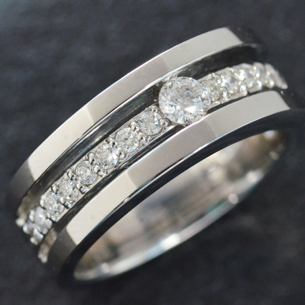 超人気新品 指輪 メンズリング プラチナ ダイヤモンド 幅広 男性用 男性用 Pt900 作製可能 日本製 プラチナ 刻印入り 鑑別書付き ごつい 太め 大きいサイズ 作製可能, ミラクルひろば:c08b3e7e --- camminobenedetto.localized.me