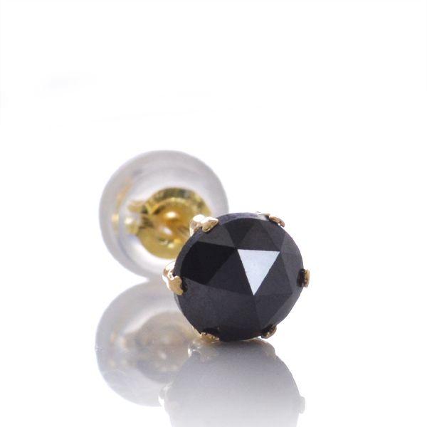 片耳 K18 ローズカットブラックダイヤ0.5カラット 片耳 ピアス/送料無料