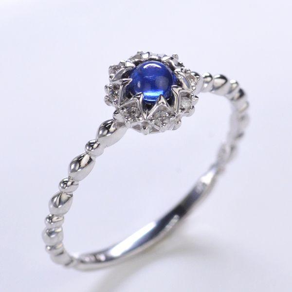 K18WG ダイヤモンド カボションサファイアリング/送料無料