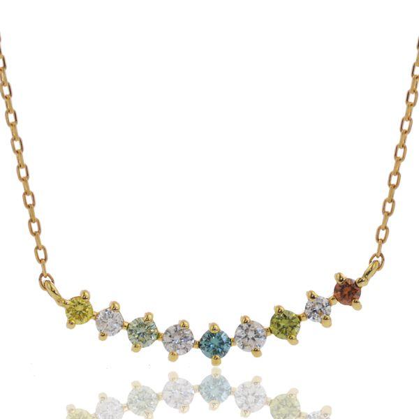 K18 マルチカラーダイヤモンド ネックレス/送料無料