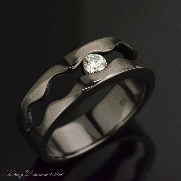 K18WG ダイヤモンド メンズリング ブラックメッキ 一粒 指輪/送料無料