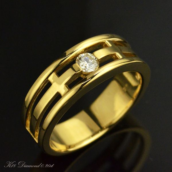 K18 ダイヤモンド メンズリング 一粒 指輪/送料無料