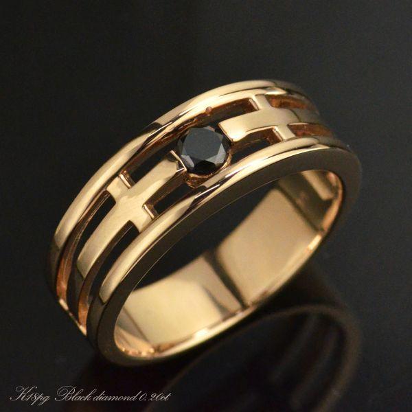 K18PG ブラックダイヤモンド メンズリング 一粒 指輪/送料無料