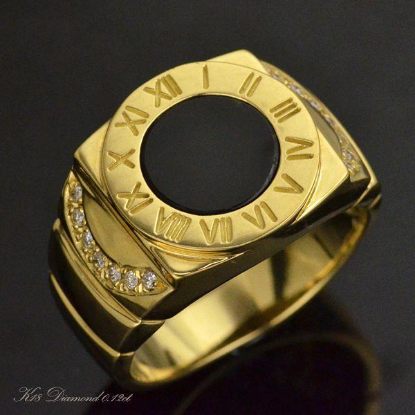 メンズリング 18金 ダイヤモンド 指輪 オニキス ゴールド 男性用 日本製
