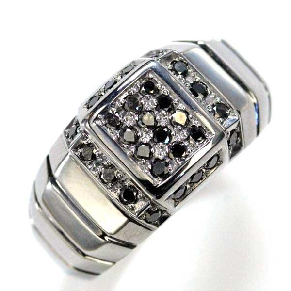 メンズリング 18金 ブラックダイヤモンド 指輪 ブラックメッキ 男性用 日本製