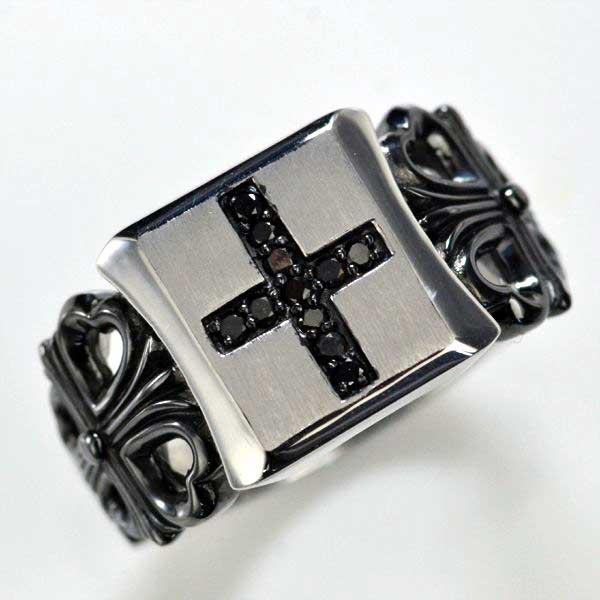 K18WG ブラックダイヤモンド メンズリング クロス 指輪/送料無料