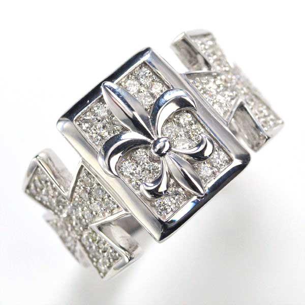 K18WG ダイヤモンド メンズリング クロス 指輪/送料無料