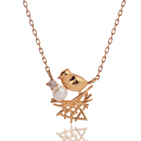 K10PG ダイヤモンド 淡水パール 鳥 ネックレス/送料無料