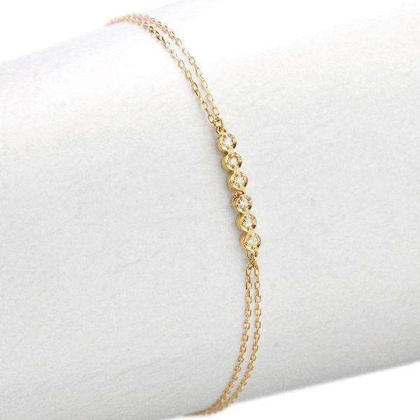ブレスレット イエローゴールド ダイヤモンド 即納 K10 日本製 2連チェーン