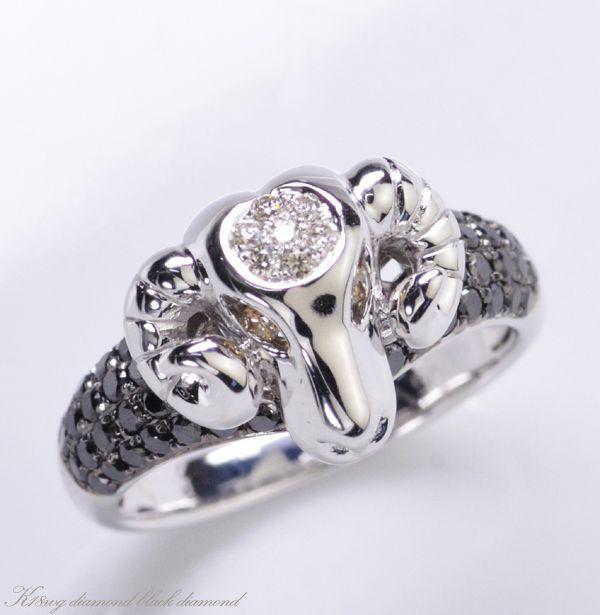K18WG ダイヤモンド ブラックダイヤモンド 羊モチーフ リング/送料無料