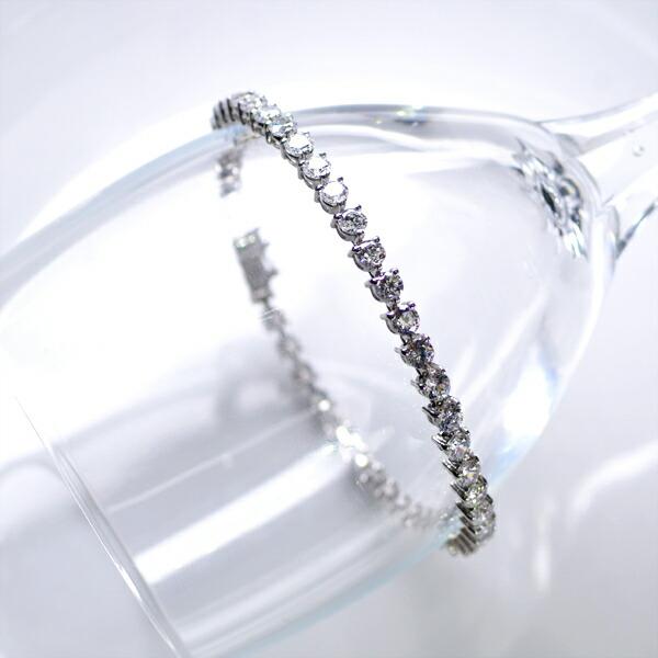 テニスブレスレット K18WG 5.00ct ダイヤモンドブレスレット 3本爪/送料無料