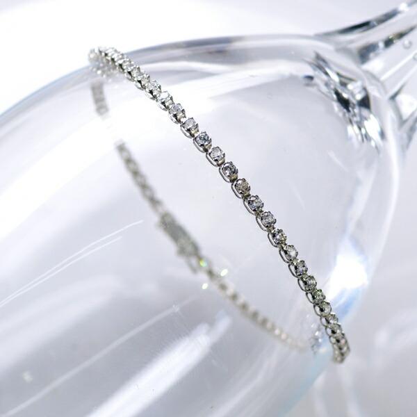 テニスブレスレット K18WG 1.00ct ダイヤモンドブレスレット/送料無料