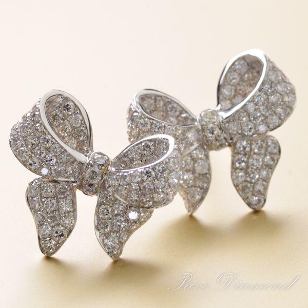 K18WG ダイヤモンド計1.00ct リボンモチーフ ピアス/送料無料