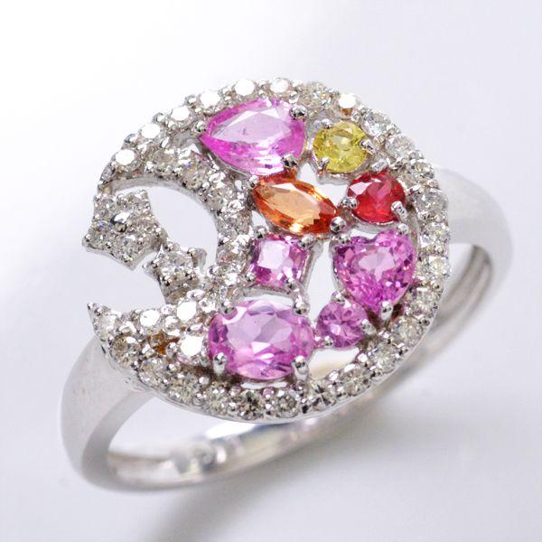 リング サファイア ダイヤモンド K18WG 指輪/送料無料
