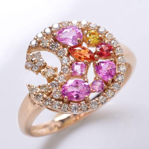 リング サファイア ダイヤモンド K18PG 指輪/送料無料