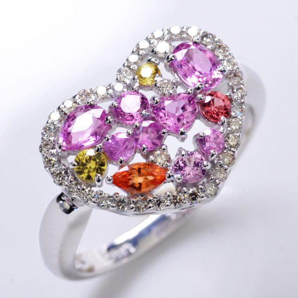 リング サファイア ダイヤモンド ハート K18WG 指輪/送料無料